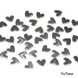 Термостразы металл сердце 7х7мм серебристые
