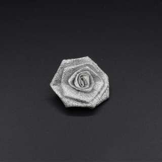 Пришивной декор розочка 50мм из парчовой ленты серебристый