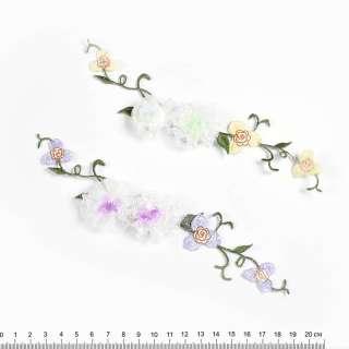 аппликация Цветы из ленты+вышивка, 6х17см