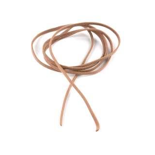Шнур замша-флок бежевый темный (1шт/1м) ширина 3мм, толщина 0,6мм