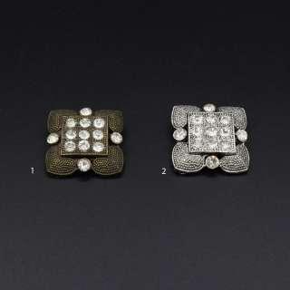 Пуговица на ножке металл квадратная с камнем белым 29х29 мм