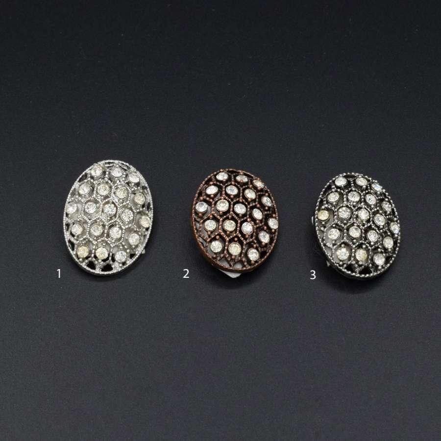 Пуговица на ножке металл овальная с камнем белым 2.8х2.1