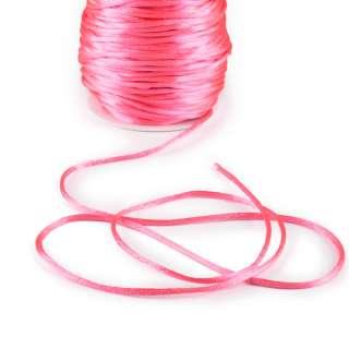 Шнур-сутаж атласный круглый розовый неон