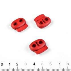 фиксатор красный 2 отв, 22мм,под шнур 4мм