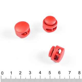фиксатор красный круглый 2 отв, под шнур 4мм