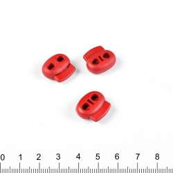 фиксатор красный 2 отв, 18мм, под шнур 4мм
