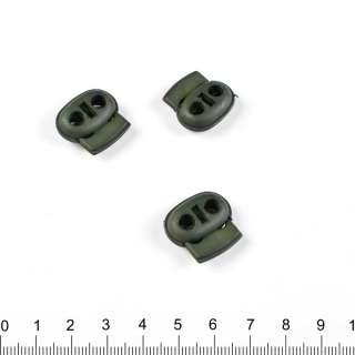 фиксатор т/зеленый 2 отв, 18мм, под шнур 4мм