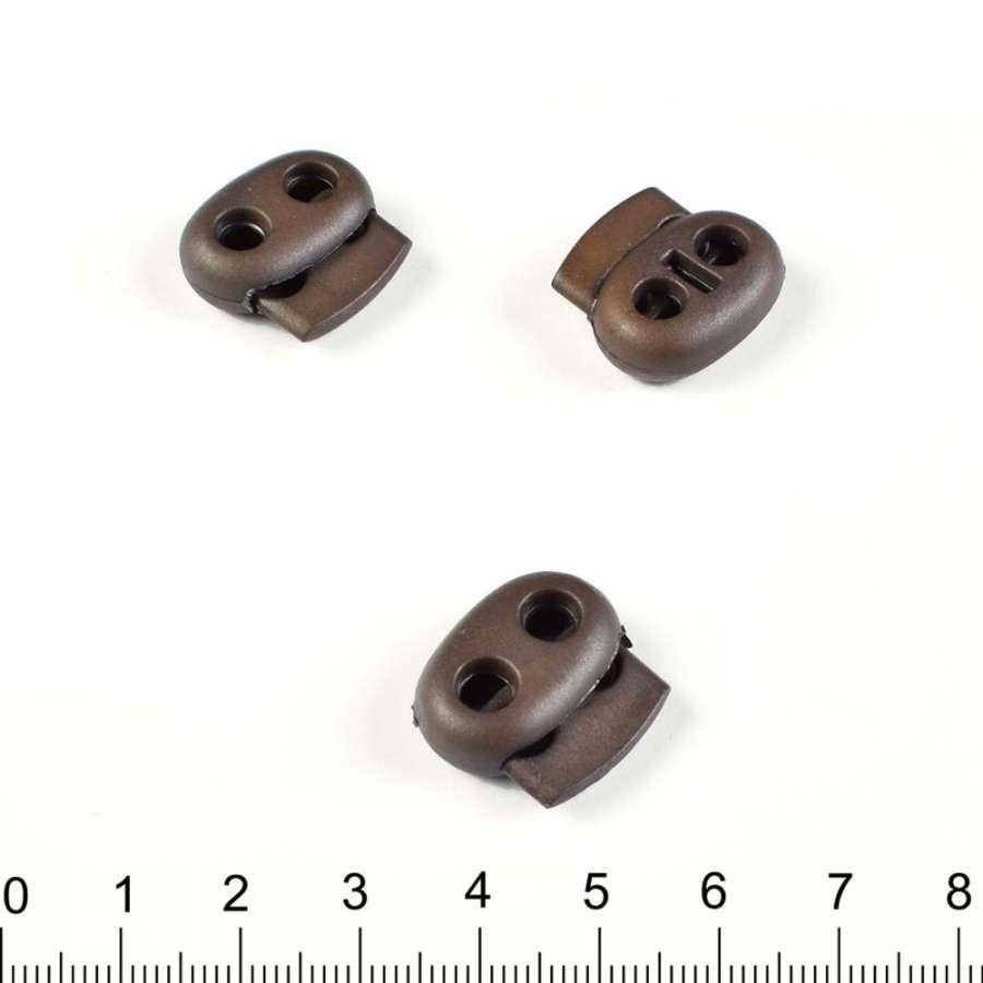 фиксатор т/коричневый 2 отв, 18мм, под шнур 4мм