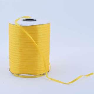 А1-01-016 атласна стрічка ш 0,3 см жовта на метраж (в бобіні 880яр / 315г