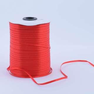 Стрічка атласна 3 мм червона А1-01-026 на метраж (бобіна 880яр / 315г)