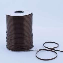 Лента атласная 3мм коричневая темная А1-01-037 на метраж  (бобина 880яр/315г)