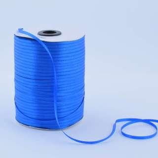 А1-01-040 атласна стрічка ш 0,3 см синя ультрамарин на метраж (в бобіні 880яр / 315г