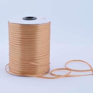 А1-01-161 атласна стрічка ш 0,3 см коричнева світла на метраж (в бобіні 880яр / 315г)