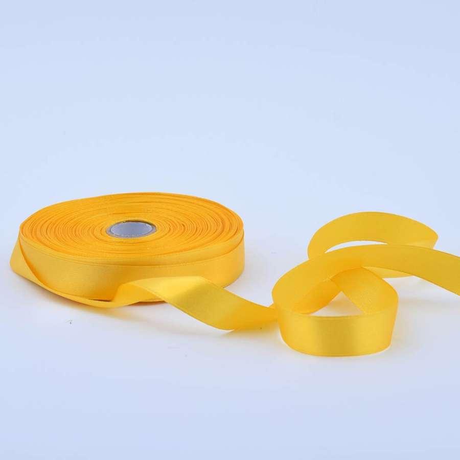 Лента атласная 15мм желтая А1-05-016 на метраж (бобина 50яр/68,2гр)