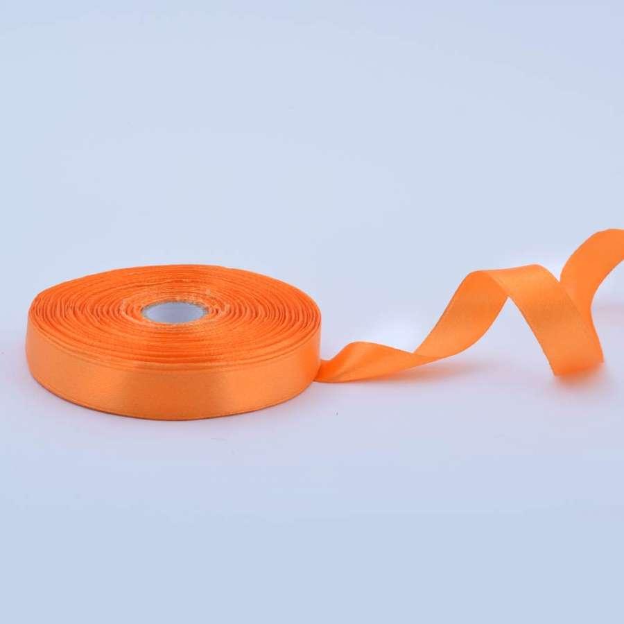 Лента атласная 15мм оранжевая светлая А1-05-024 на метраж (бобина 50яр/68,2гр)
