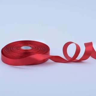 Стрічка атласна 15мм червона темна А1-05-033 на метраж (бобіна 50яр / 68,2гр)