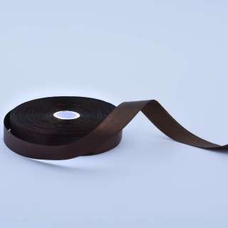 Стрічка атласна 15мм коричнева темна А1-05-037 на метраж (бобіна 50яр / 68,2гр)