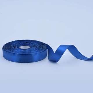 Стрічка атласна 15мм синя А1-05-038 на метраж (бобіна 50яр / 68,2гр)