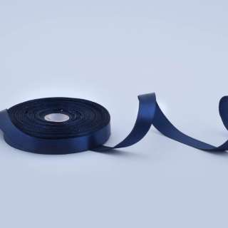 Стрічка атласна 15мм синя темна А1-05-08 на метраж (бобіна 50яр / 68,2гр)