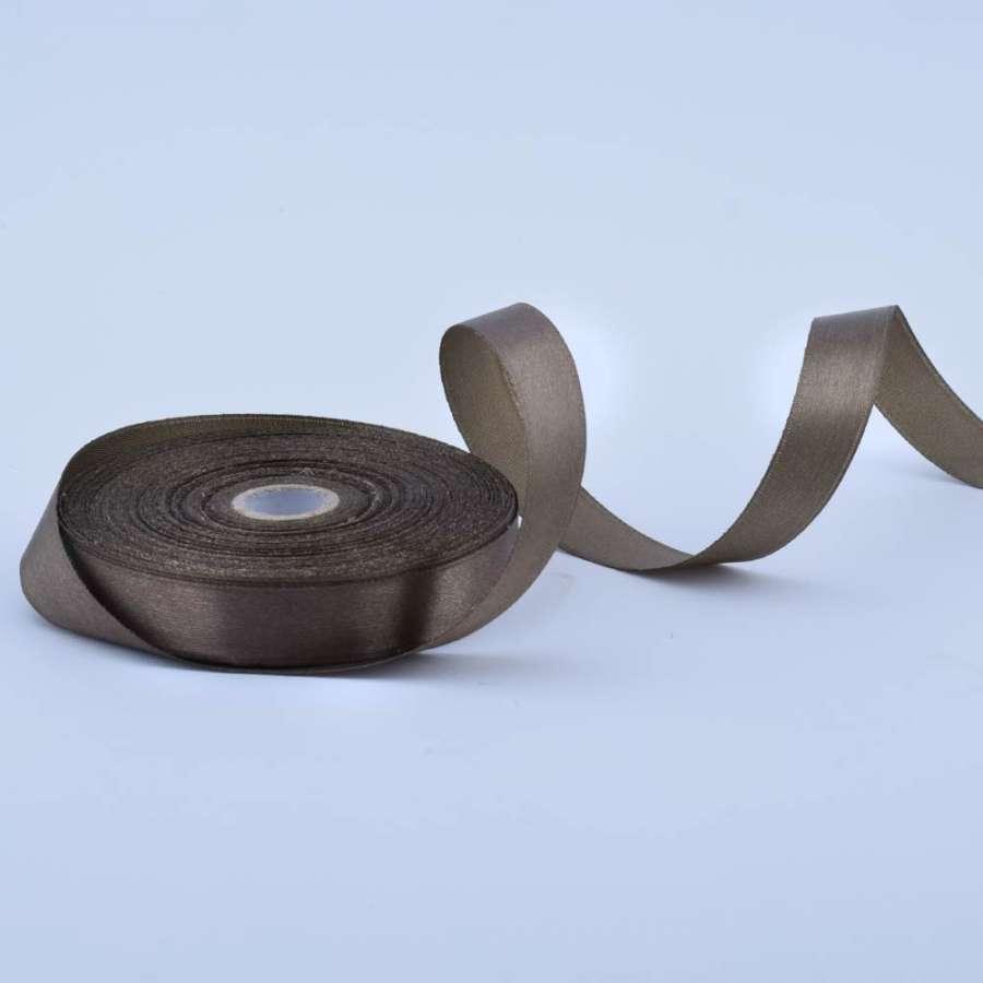 Лента атласная 15мм оливково-коричневая А1-05-129 на метраж (бобина 50яр/68,2гр)