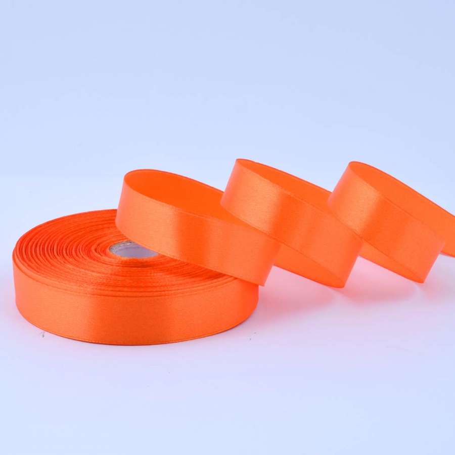 Лента атласная 20мм оранжевая А1-06-025 на метраж (бобина 50яр/77,4г)