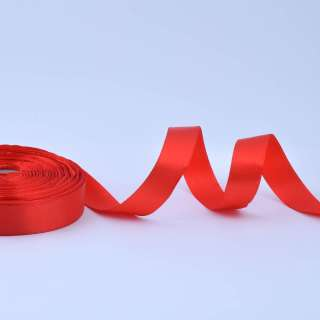 Стрічка атласна 20мм червона А1-06-026 на метраж (бобіна 50яр / 77,4г)