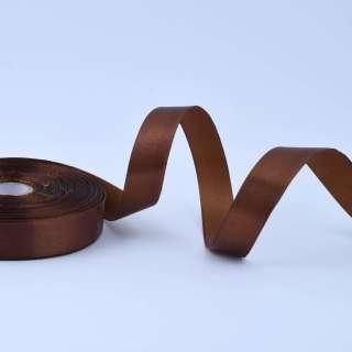 Стрічка атласна 20мм коричнево-оливкова А1-06-032 на метраж (бобіна 50яр / 77,4г)