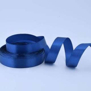 Стрічка атласна 20мм синя А1-06-038 на метраж (бобіна 50яр / 77,4г)