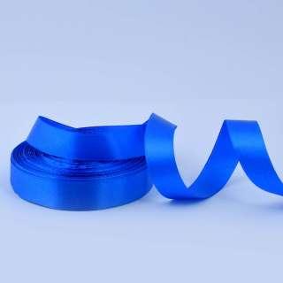 Стрічка атласна 20мм синя ультрамарин А1-06-040 на метраж (бобіна 50яр / 77,4г)