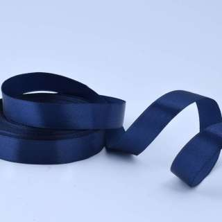 Стрічка атласна 20мм синя темна А1-06-081 на метраж (бобіна 50яр / 77,4г)