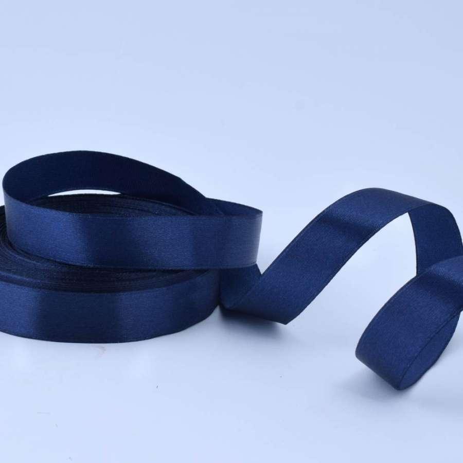 Лента атласная 20мм синяя темная А1-06-081 на метраж (бобина 50яр/77,4г)