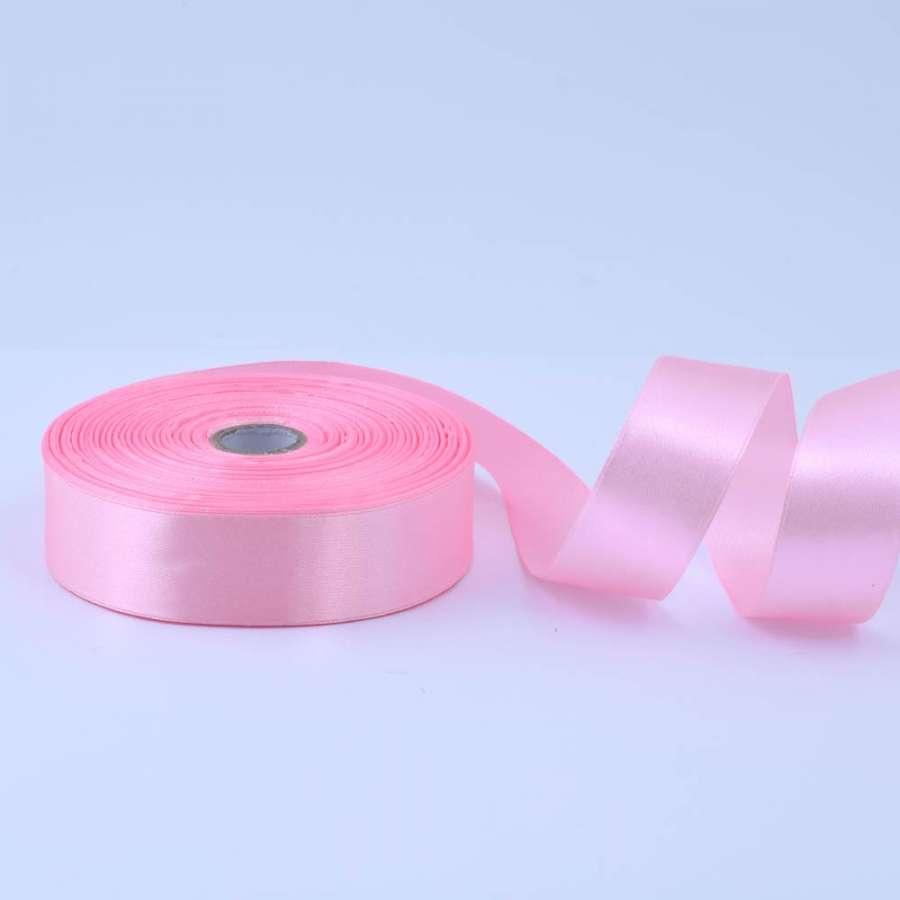 Лента атласная 25мм розовая А1-08-004 светлая на метраж (бобина 50яр/119г)