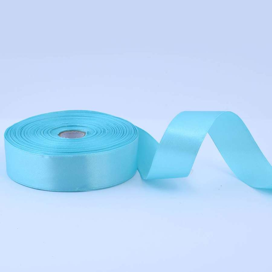 Лента атласная 25мм голубая яркая А1-08-020 на метраж (бобина 50яр/119г)
