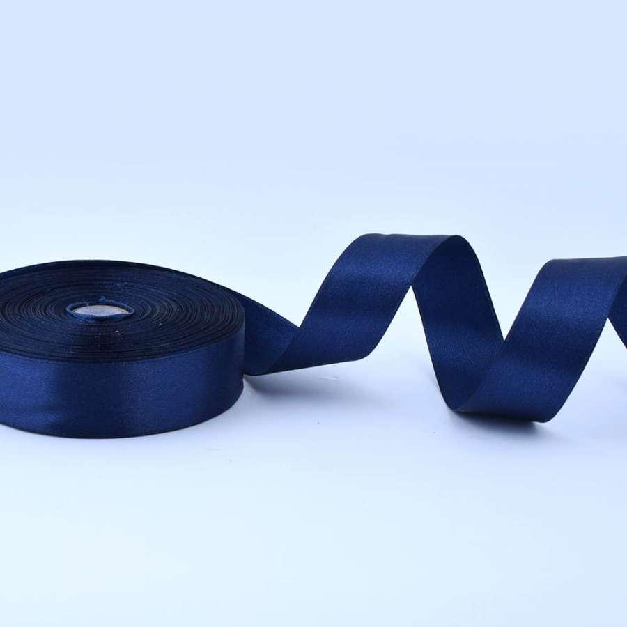 Лента атласная 25мм синяя темная А1-08-081 на метраж (бобина 50яр/119г)