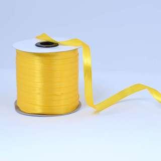 Стрічка атласна 10мм жовта яскрава А1-03-016 на метраж (бобіна 230яр / 193,70г)