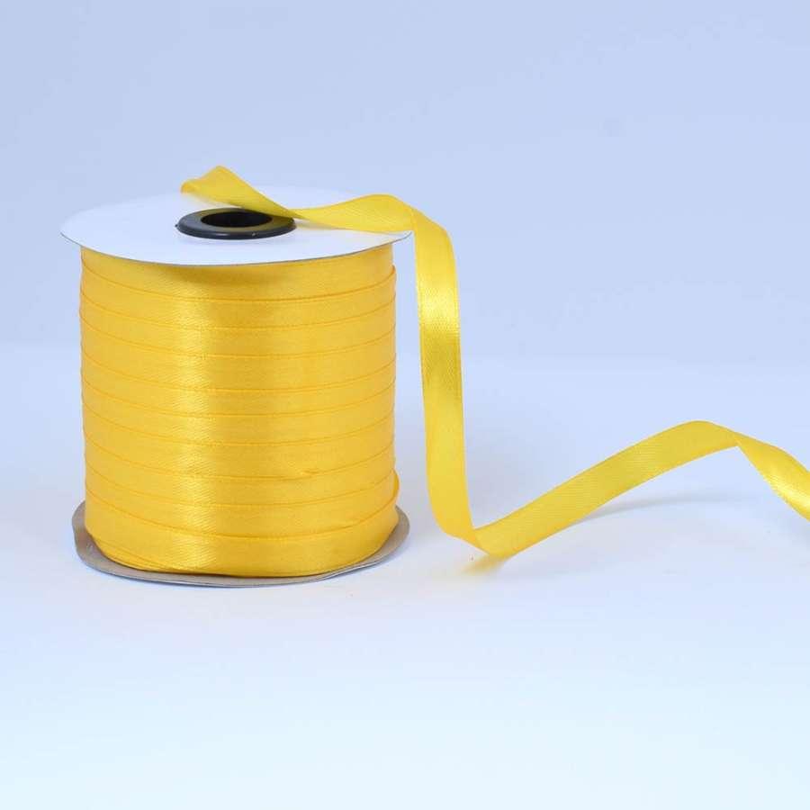 Лента атласная 10мм желтая яркая А1-03-016 на метраж (бобина 230яр/193,70г)