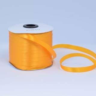 Стрічка атласна 10мм жовта насичена А1-03-017 на метраж (бобіна 230яр / 193,70г)