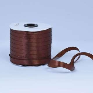 Стрічка атласна 10мм коричнева А1-03-032 на метраж (бобіна 230яр / 193,70г)