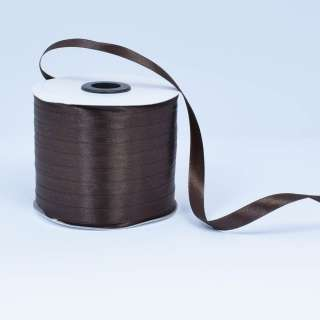 Стрічка атласна 10мм коричнева темна А1-03-037 на метраж (бобіна 230яр / 193,70г)