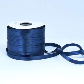 Стрічка атласна 10мм синя А1-03-038 на метраж (бобіна 230яр / 193,70г)