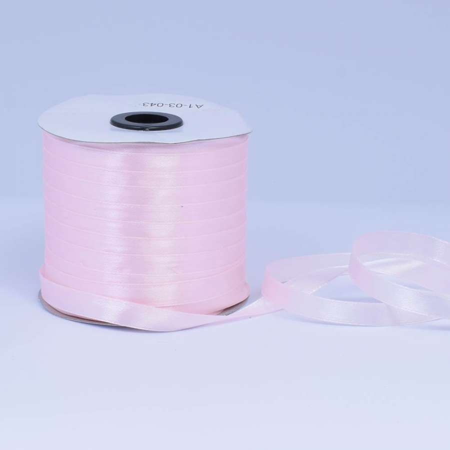 Стрічка атласна 10мм рожева світла А1-03-043 на метраж (бобіна 230яр / 193,70г)