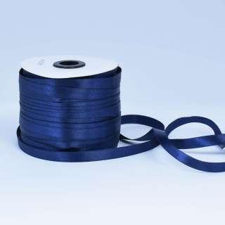 Стрічка атласна 10мм синя темна А1-03-081 на метраж (бобіна 230яр / 193,70г)