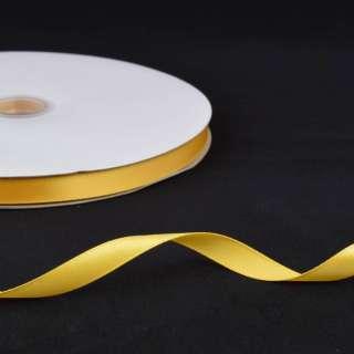Стрічка атласна 10мм жовта А2-03-066 на метраж (бобіна 100яр / 158г)