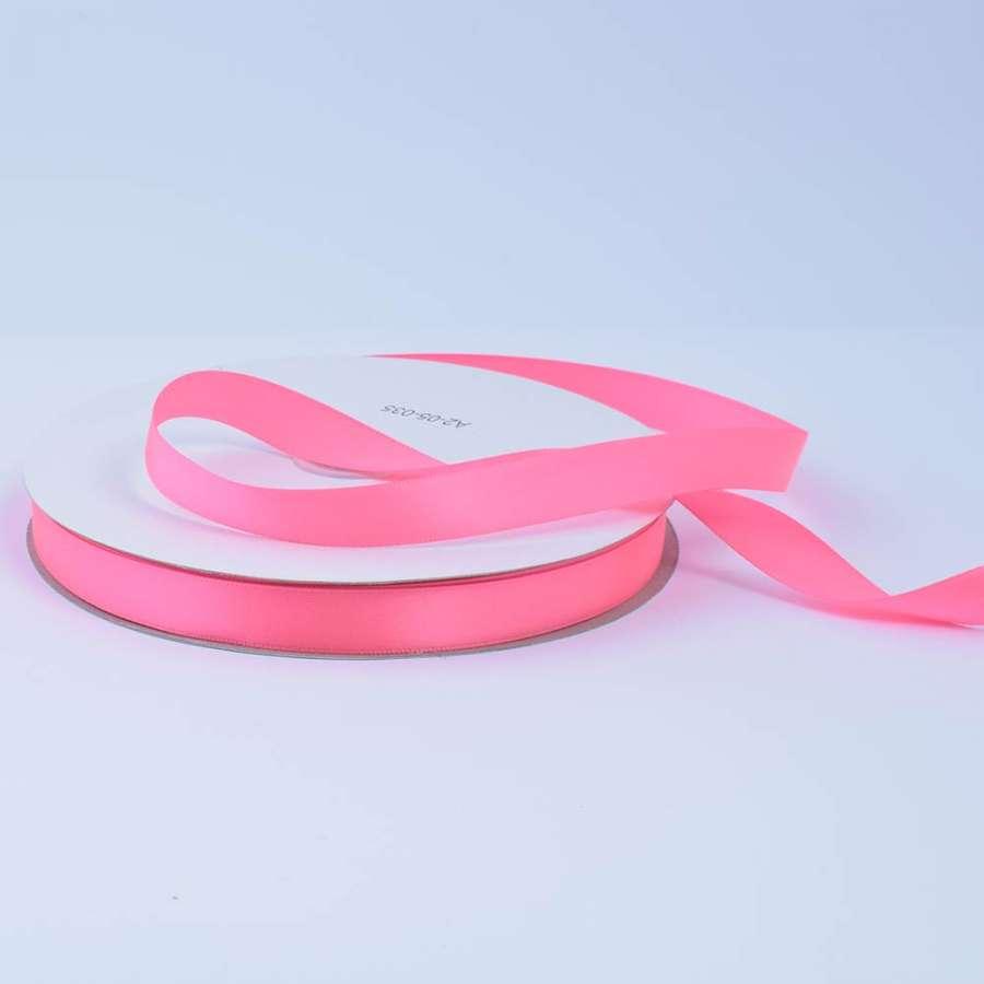 Лента атласная 15мм розовая неон А2-05-035 на метраж (бобина 100яр/230г)