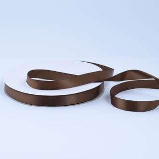 Стрічка атласна 15мм коричнева темна А2-05-056 на метраж (бобіна 100яр / 230г)