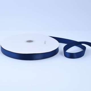 Стрічка атласна 15мм синя темна А2-05-101 на метраж (бобіна 100яр / 230г)