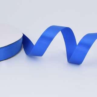 Стрічка атласна 20мм синя А2-06-099 на метраж (бобіна100яр / 283,3гр)