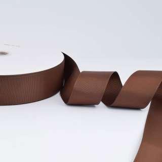 Лента репсовая ш.4 см А5-12-046 коричневая на метраж (в бобине 100яр/685г)