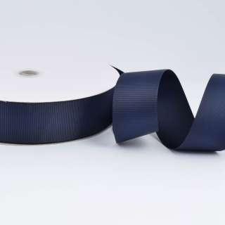 А5-12-098 репсова стрічка ш. 4 см синя темна на метраж (в бобіні 100яр / 685г)