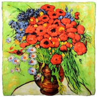 Хустка шовкова 86х87 см Червоні троянди і маргаритки (ван Гог)